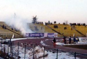 În noiembrie 1995, tifoseria polistă și-a făcut simțită prezența pe arena din Trivale